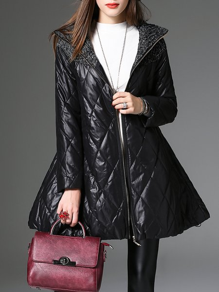 Paneled Casual A-line Long Sleeve Coat