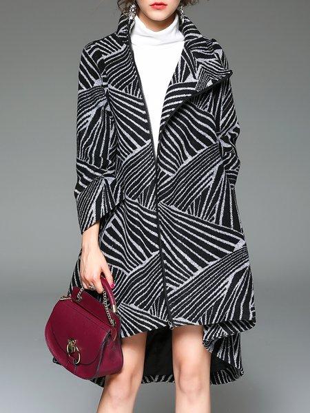 Black Wool Blend Color Block High Low Elegant Coat