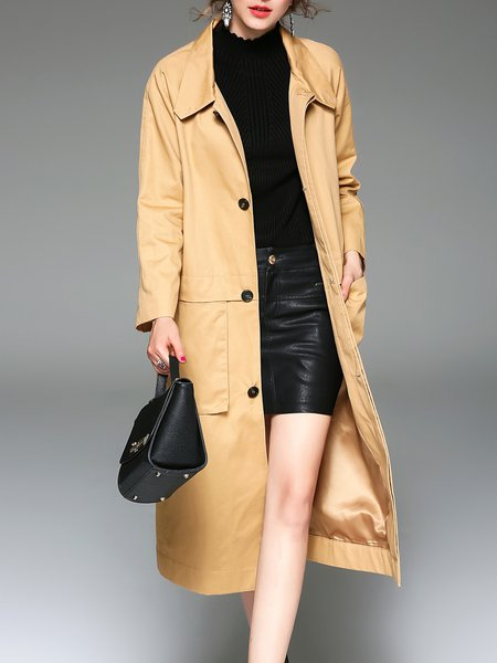 Khaki Buttoned Long Sleeve Cotton A-line Coat