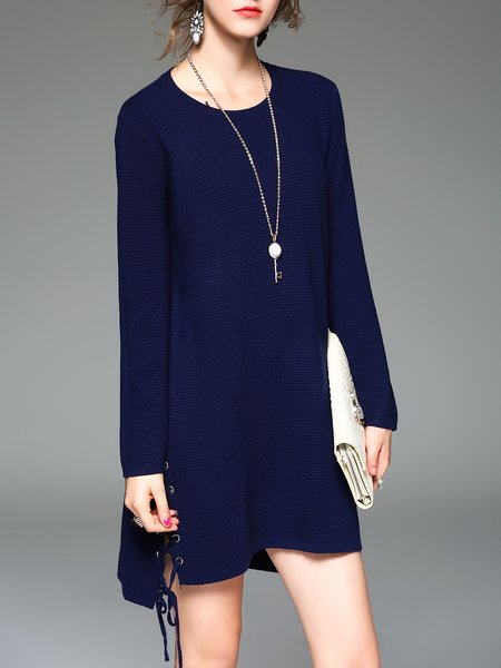 Navy Blue Elegant High Low Knitted Sweater Dress