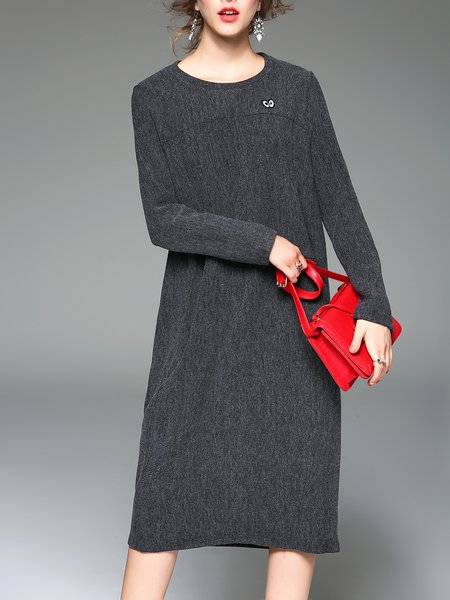 Gray Shift Crew Neck Elegant Midi Dress