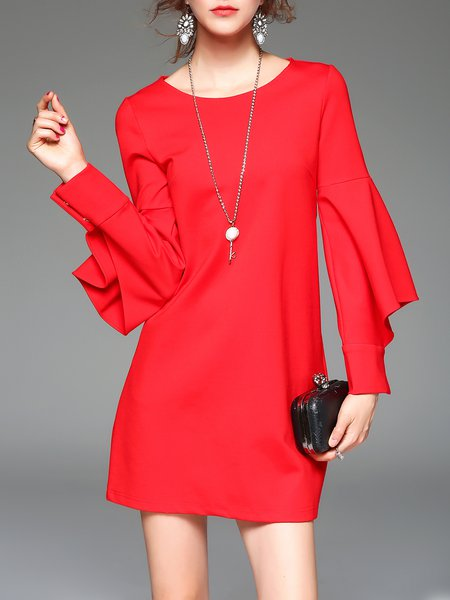 Solid Cotton-blend Batwing Mini Dress