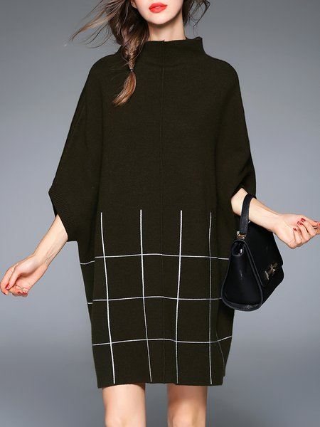 Army Green Cashmere Stand Collar Batwing Checkered/Plaid Sweater