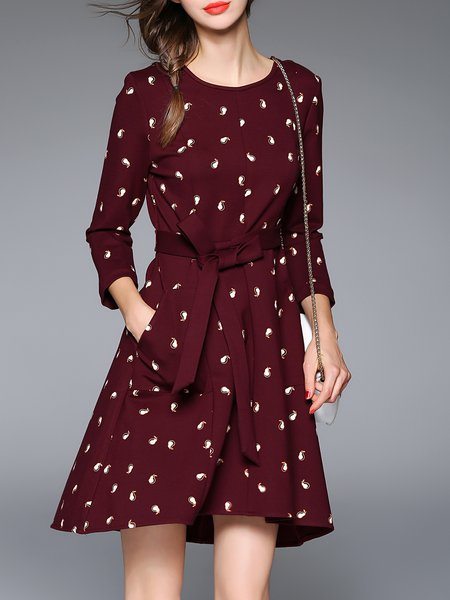 Wine Red Asymmetrical Printed Long Sleeve Midi Dress With Belt