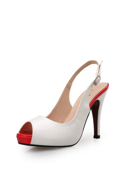 White Peep Toe Stiletto Heel PU Dress Heels