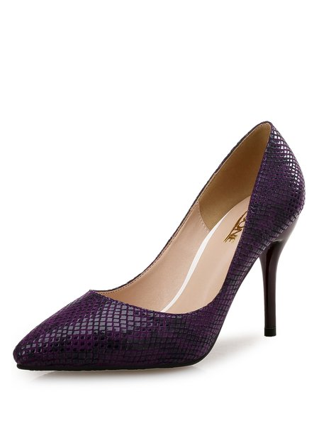 Purple Stiletto Heel Pointed Toe Heels