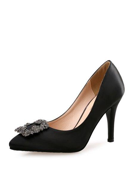 Black Satin Stiletto Heel Dress Rhinestone Heels