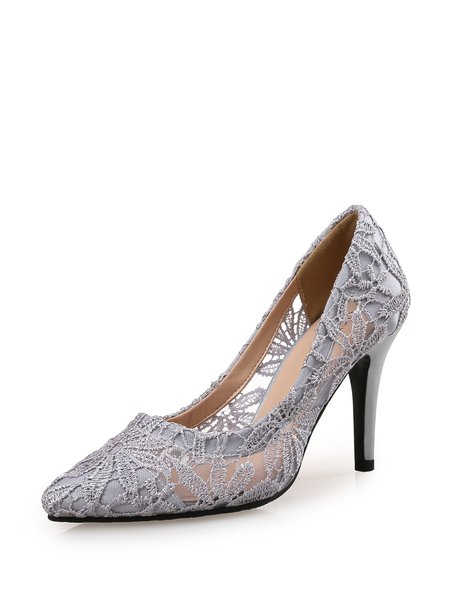 Gray Party & Evening Stiletto Heel Lace Heels