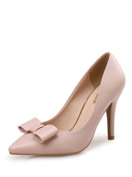 Pink PU Summer Stiletto Heel Bowknot  Dress Heels