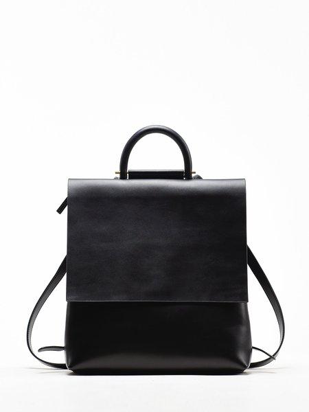 Black Casual Medium Cowhide Leather Backpack