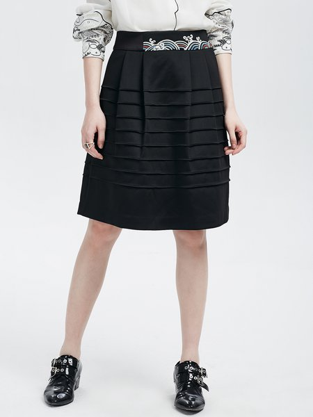 Black A-line Ruched Casual Midi Skirt