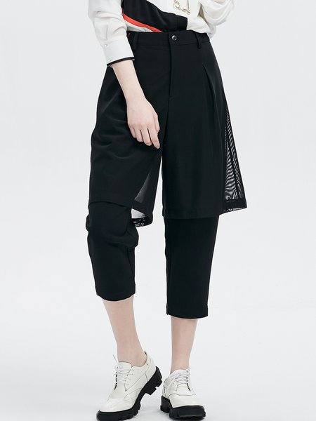 Black Casual Plain Mesh Paneled Polyester Cropped Pants
