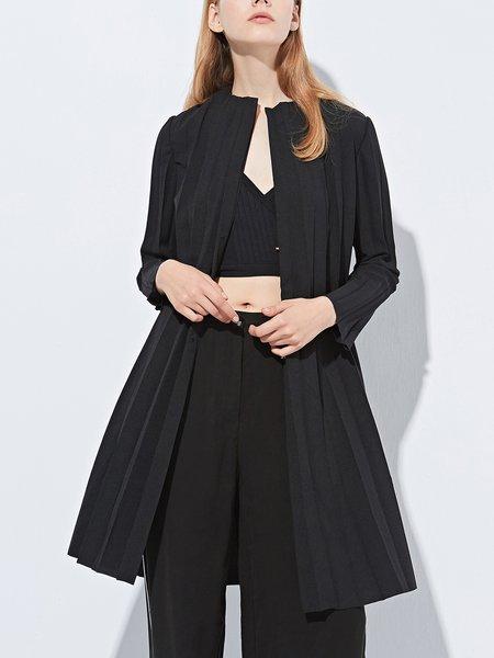 Lapel Pleated Simple Coat