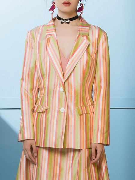 Multicolor Stripes Pockets Silk Long Sleeve Blazer