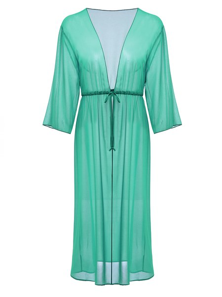 Green Solid Spandex Coverup