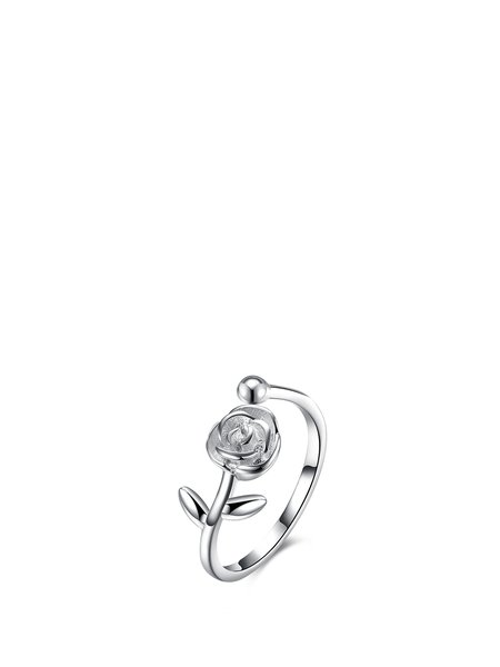 Silver 925 Sterling Silver Flower Ring