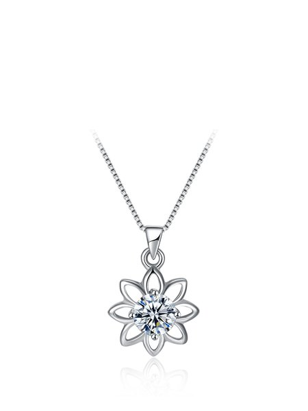 Silver 925 Sterling Silver Flower Necklace