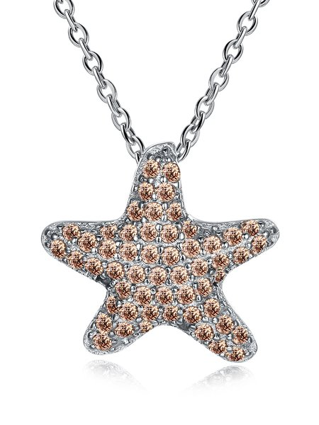 Silver Star 925 Sterling Silver Zircon Necklace