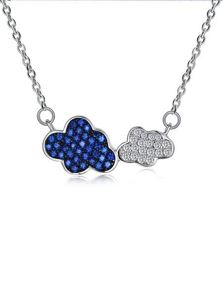 Blue 925 Sterling Silver Zircon Necklace