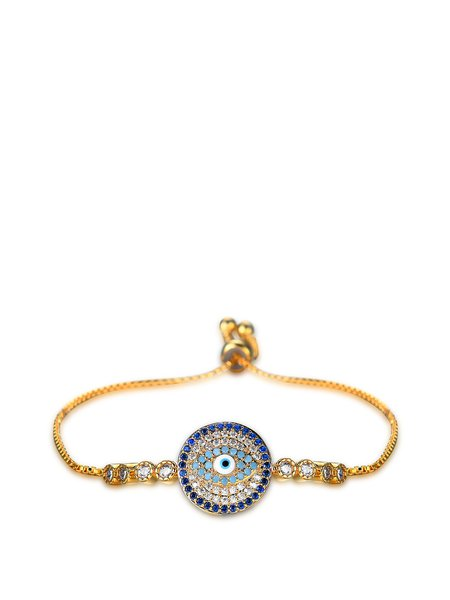 Golden Round Zircon Copper Bracelet