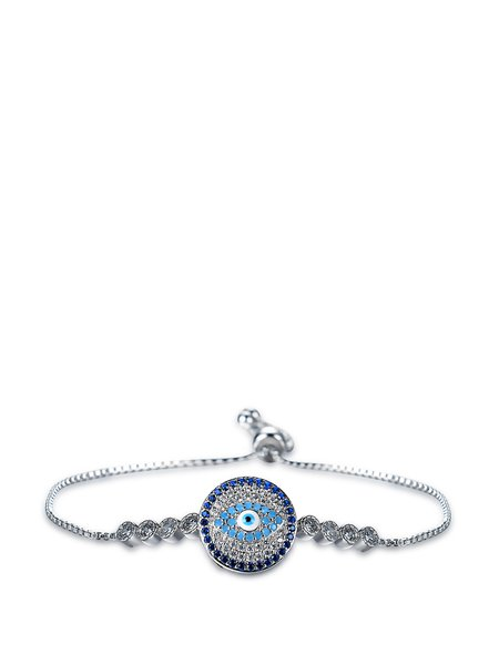 Silver Zircon Round Bracelet