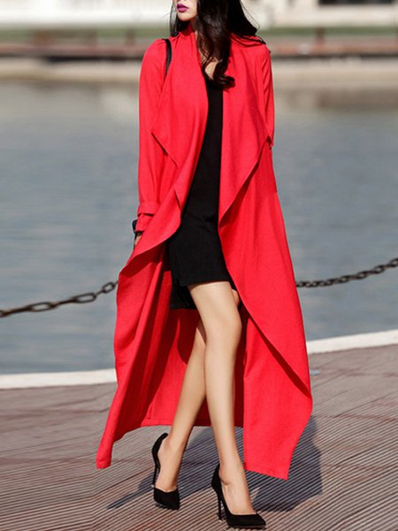 Long Sleeve Solid Asymmetrical Casual Trench Coat with Belt