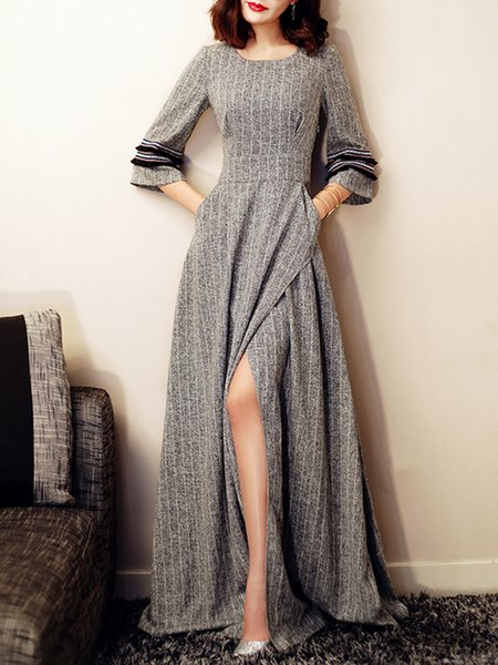 Bell Sleeve Elegant Swing Crew Neck Slit Party Dress