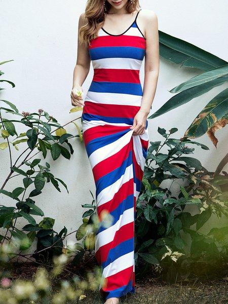 Casual Stripes Spaghetti Holiday Dress