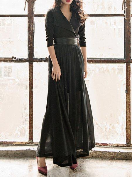 Black Lapel 3/4 Sleeve Gathered Maxi Dress