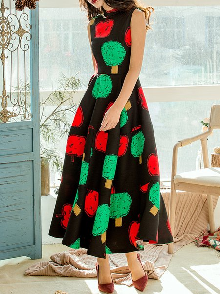 Black Swing Polka Dots Sleeveless Maxi Dress