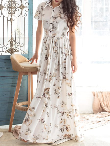 White Shirt Collar Floral-print Casual Shirt Dress