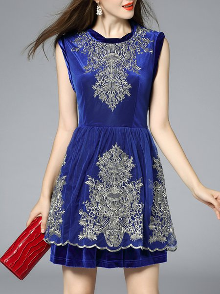 Blue Polyester Embroidered Square Neck Simple Mini Dress