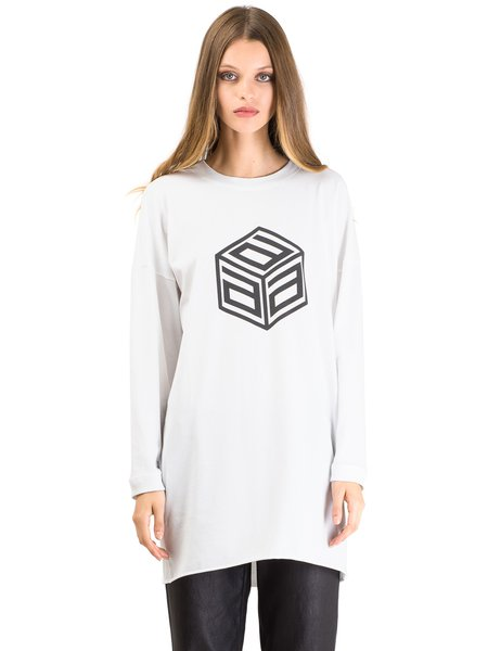 White Cotton-blend Printed Simple Crew Neck T-Shirt