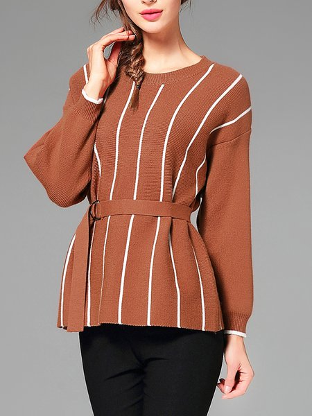 Coffee Crew Neck Stripes Long Sleeve Sweater