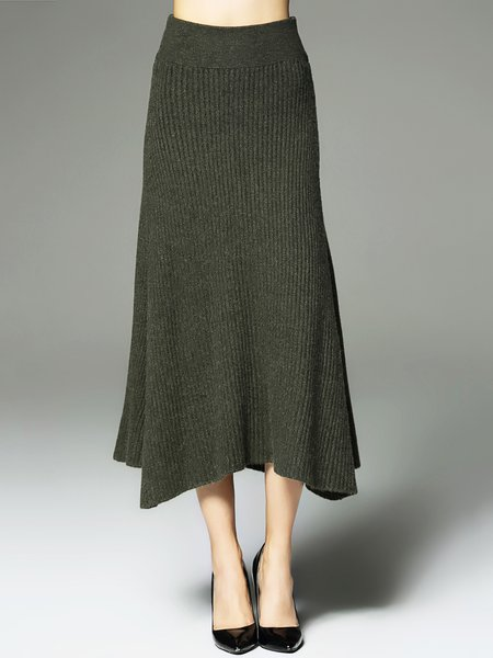 Casual Solid A-line Knitted Midi Skirt