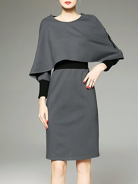 Gray Batwing Cotton-blend Sheath Color-block Work Dress