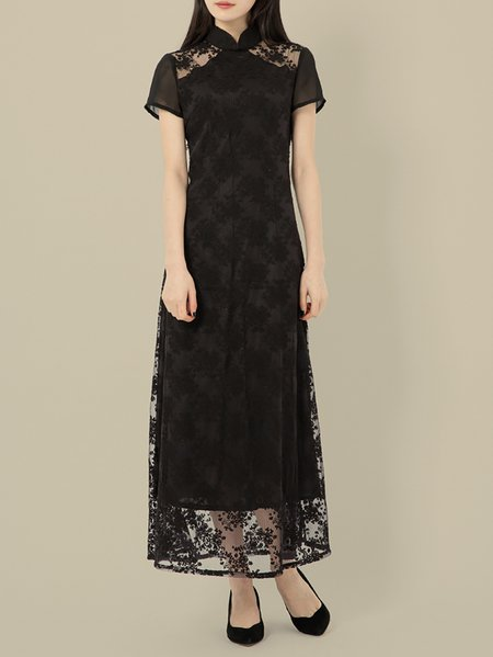 Black Vintage Cotton Floral A-line Maxi Dress