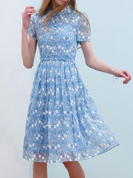 Blue Stand Collar Cotton Casual Midi Dress