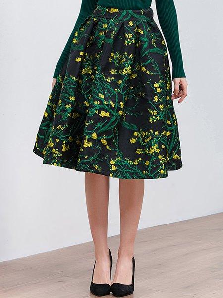 Black Jacquard Elegant Floral Midi Skirt