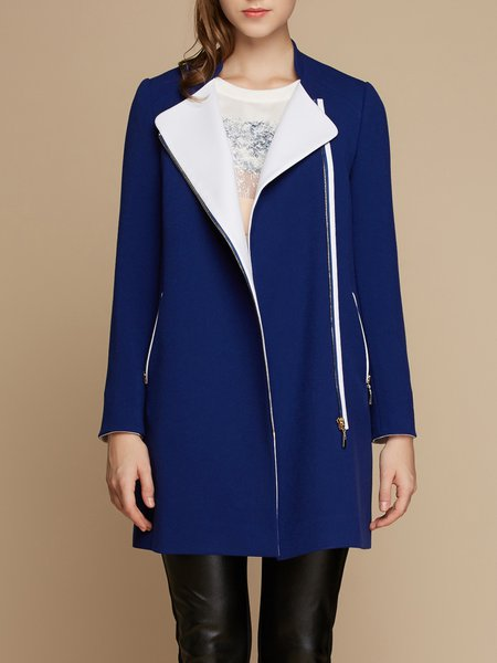 Casual Solid Zipper Stand Collar Long Sleeve Coat