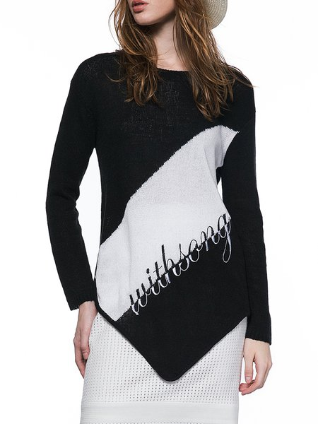 Black Long Sleeve Embroidered Letter Asymmetrical Knitted Sweater