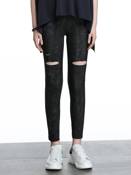 Black Sheath Cutout Plain Statement Leggings