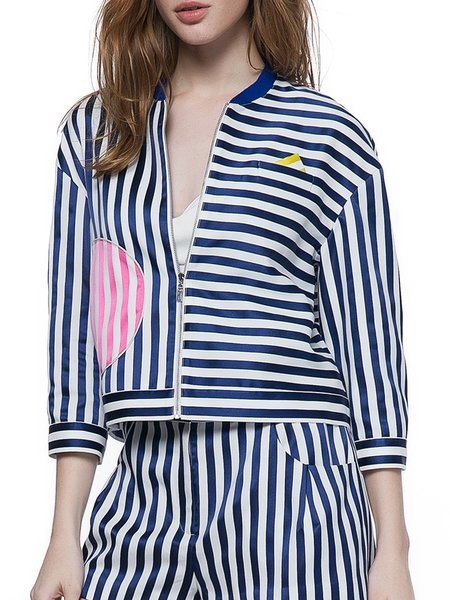 Blue Color-block Stripes Long Sleeve Cropped Jacket