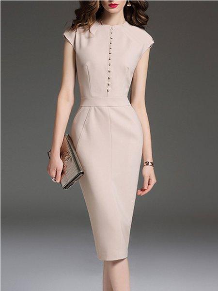 Plus Size Apricot Elegant Solid Sheath Crew Neck Midi Dress