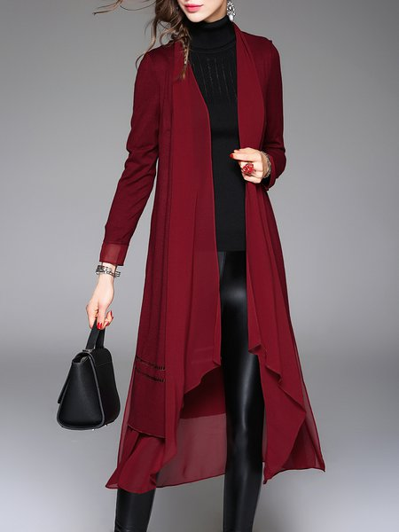 Casual Long Sleeve Paneled Open Collar Plain A-line Coat