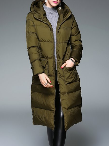 H-line Long Sleeve Polyester Casual Zipper Coat