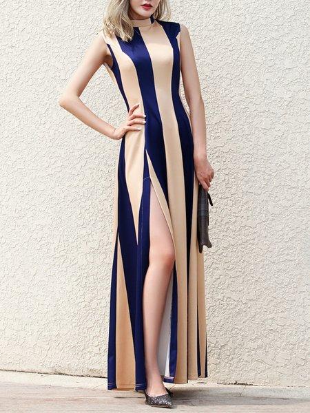 Blue Slit Elegant Stripes Sheath Maxi Dress