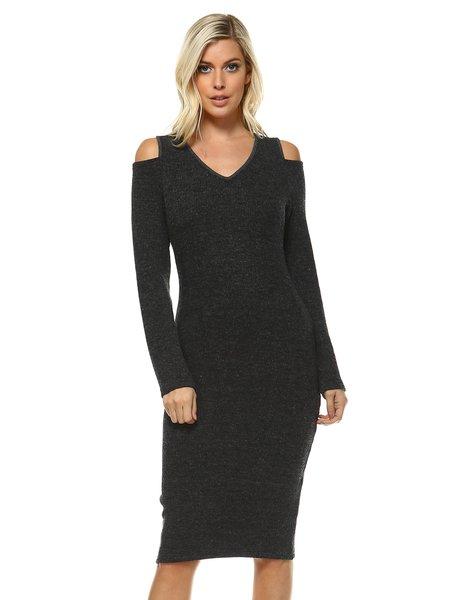 Deep Gray Sheath Cold Shoulder Solid Long Sleeve Midi Dress