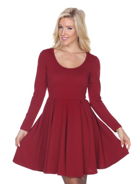 Burgundy Scoop Neckline A-line Solid Casual Mini Dress