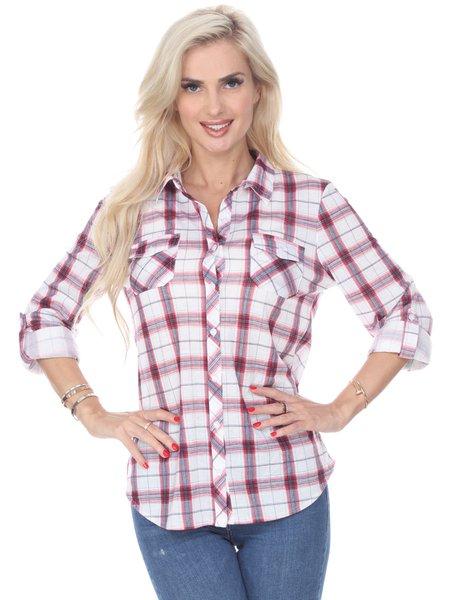 Red Printed Long Sleeve Checkered Shirt Collar Blouse